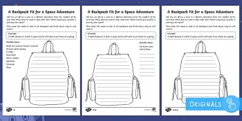Back to Earth with a Bump Packing a Backpack Activity Sheets - space, planets, night and day, dark, sun, Mars, moon, stories, picture books, Hal, story, Earth, Mer
