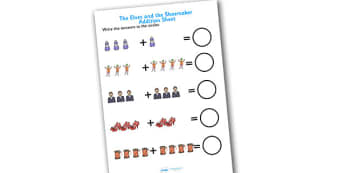 The Elves and the Shoemaker Addition Sheet - the elves and the shoemaker, addition sheet, the elves and the shoemaker addition sheet, worksheet