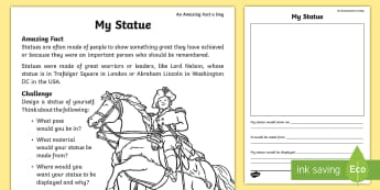 My Statue Worksheet / Activity Sheet - july amazing fact, honour,remembrance, amazing fact a day, July, KS1, year 1, year 2, worksheet