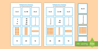 2, 5 and 10 Times Table Multiplication Matching Puzzle - multiplication, matching, puzzle