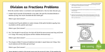 Division as Fractions Word Problems Activity Sheet - dividing, fraction, word problems, problem solving, mixed numbers, improper fractions, worksheet, 5.