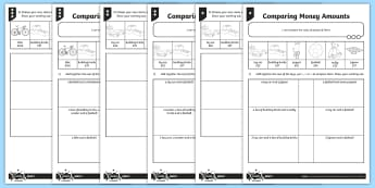 Comparing Money Amounts Differentiated Worksheet / Activity Sheets - measurement, money, word problems