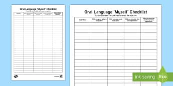 Myself Oral Language Checklist - Back to School, Junior Infants, me, tracker, sheet, record, assess, assessment,Irish