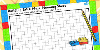 Building Brick Maze Planning Activity Sheet - technology, science sparks, worksheet