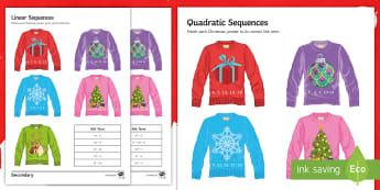 Christmas Jumper Sequence Matching Activity Sheet - Maths, Christmas, Jumper, sequences, nth term