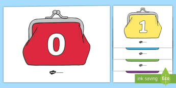 Numbers 0 to 20 on Purses Display Posters - EYFS, Early Years, wallet, money, KS1, shopping, shops, everyday life, coins, purse, wallet.