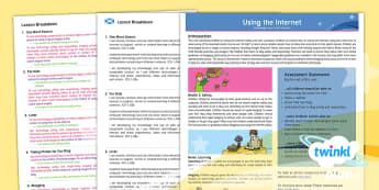 CfE First Level Computing Year 2 Using The Internet PlanIt Overview - CfE Planit Overviews, computing, technologies, internet, www, search engine, staying safe online, li