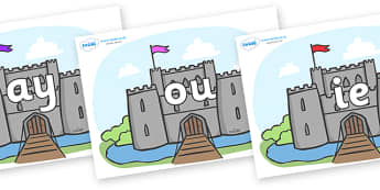 Phase 5 Phonemes on Castles - Phonemes, phoneme, Phase 5, Phase five, Foundation, Literacy, Letters and Sounds, DfES, display