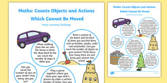EYFS Maths: Counts Objects or Actions Which Cannot be Moved Home Learning Challenge Sheet