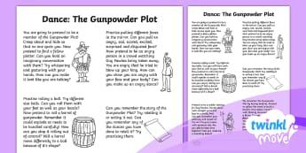 Twinkl Move - Year 2 Dance: The Gunpowder Plot Home Learning Tasks - PE, Physical Education, Key Stage 1, KS1, Year 1, Y1, Year 2, Y2, Warm-Up, Running, Dance, Sport, Ex