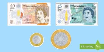 New British UK Coins Display Cut-Outs -  - New British (UK) Coins Cut Outs - coins, money, counting aid, countng, couting, coutning, xounting,