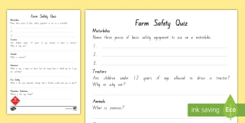 Farm Safety Quiz Activity Sheet - New Zealand, Pet Day, Farm Safety, Pet Show, quiz