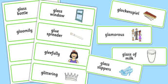 Three Syllable GL Word Cards - sen, sound, gl sound, gl,  three syllable, word cards