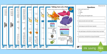KS1 How to Look After a Fish Differentiated Comprehension Go Respond Worksheet / Activity Sheets English/Mandarin Chinese - Pets, pet, EYFS, KS1, take, care, look, after, family, member, members, vet, vet surgery, surgery, i