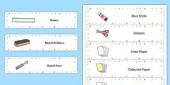 Editable Multicoloured Star Drawer Labels - name tags, signs