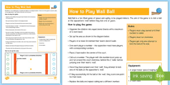 Wall Ball Reaction Game Adult Guidance - PE Curriculum Aims KS2, Play competitive games, modified where appropriate, and apply basic principl