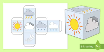 Weather Symbols Dice - CfE Social Studies, weather, coping with climate, snow, sunshine, wind, rain, cloud, thunder, lightn