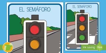 Póster: El semáforo  - Semáforo, comportamiento, palabras difíciles de pronunciar, tricky words, flower words,  silencio,