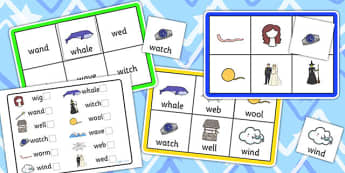 Initial w Sound Bingo and Lotto Game - sounds, bingo, lotto, game