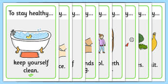 Health and Hygiene Display Posters - Good health, hygiene, behaviour management, eat fruit, walk to school, vegetables, exercise, brush teeth, wash hands, drink water