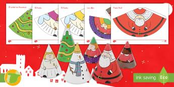 Modelo de papel: Conos con personajes de Navidad - Navidad, natividad, santa Claus, papá Noel, festividad, fiesta, ideas, manualidad, manualidades, ar