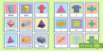 Cardiau Cyfatebu Rhwydi a Siâpiau 3D - rhwyd, rhwydi, siapau 3d, siapiau 3d, 3D sahpes, 3d shapes.,Welsh