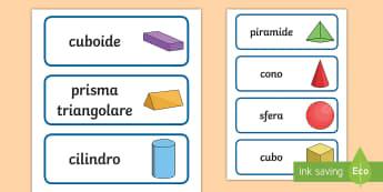 Forme geometriche 3D Parole Illustrate - forme, geometriche, geometria, 3d, tridimensionali, italiano, italian, materiale, scolastico