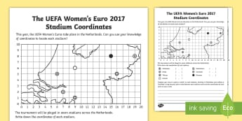 KS2 UEFA Women's Euro 2017 Stadium Coordinates Activity - football tournament, maths, map, plot a route, football, stadium