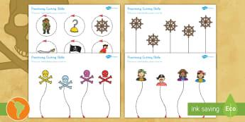 Pirate Themed Scissor Skills Activity Sheet Pack US English/Spanish (Latin) - fine, motor, prirate, worksheet, arr, ship,