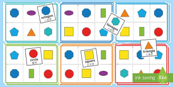2D Shape Bingo English/Mandarin Chinese - A 2D shape bingo set, including boards and matching cards. A fun way to reinforce 2D shape names., 2