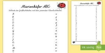Marienkäfer ABC Arbeitsblatt -  Frühling,Jahreszeit,Buchstaben,KindergartenundVorschule,Großbuchstaben,Kleinbuchstaben,Marienkäf