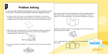 PlanIt Maths Y4  Addition and Subtraction Solving Problems Home Learning Tasks