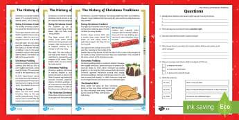 LKS2 The History of Christmas Traditions Differentiated Reading Comprehension Activity - christmas food, christmas decorations, y3 reading, y4 reading, non fiction