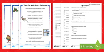 KS2 'Twas The Night Before Christmas Differentiated Reading Comprehension Activity - Mouse, Santa, St. Nicholas, Children, December