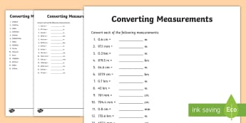 Converting Measurements Activity Sheet-Australia - F - 3 New resources aligned to Aus Curriculum, measurement, geometry and measurement, converting mea