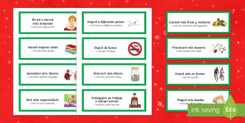 New Year's Resolutions Word Cards Spanish Translation - spanish, new years resolutions, word cards, new year