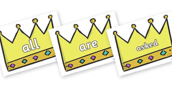 Tricky Words on Crowns (Plain) - Tricky words, DfES Letters and Sounds, Letters and sounds, display, words