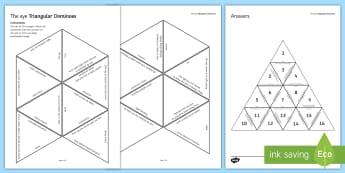 The Eye Tarsia Triangular Dominoes - Tarsia, Dominoes, The Eye, Sight, Seeing, Vision, plenary activity