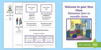 Welcome to Your New Class Booklet English/French - EAL French, transition, translation, about me