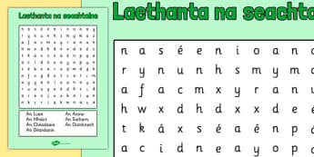 Laethanta na seachtaine Word Search Gaeilge - roi, irish, gaeilge, days, week, days of the week, wordsearch, word, search