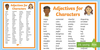 Adjectives for Characters Display Poster - adjectives, characters, people, creative writing, display poster,Irish