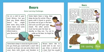 Bears Home Learning Challenges Nursery FS1 - Early Years, Foundation, Home School Links, Homework, Parents, Panda Bear, Brown Bears, Grizzly Bear