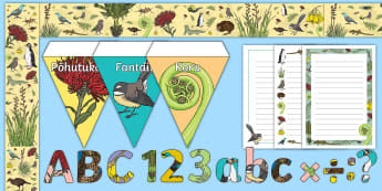 New Zealand Native Flora and Fauna Themed Display Pack - native, plants, animals display, ideas, classroom, theme