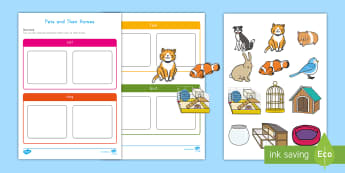 Pets and Their Homes Activity Sheet - pets, family pets, class pets, activity sheet, pets activity sheet, pets homes, fine motor, workshee