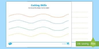 Cutting Skills Worksheet / Activity Sheets(Colour Lines) - Scissor skills, cutting, cutting worksheet, using scissors, cutting skills, fine motor skills