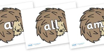 Foundation Stage 2 Keywords on Hedgehogs - FS2, CLL, keywords, Communication language and literacy,  Display, Key words, high frequency words, foundation stage literacy, DfES Letters and Sounds, Letters and Sounds, spelling