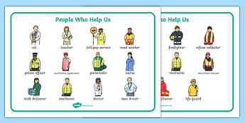 People Who Help Us Word Mat - People who help us, Display, Word mat, Key words, Role Play, Doctor, Nurse, Teacher, Police, Fire fighter, Paramedic, Builder, Caretaker, Lollipop, Traffic Warden, Lunchtime supervisor, lunch time assistant, midday assis