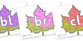 Initial Letter Blends on Autumn Leaves - Initial Letters, initial letter, letter blend, letter blends, consonant, consonants, digraph, trigraph, literacy, alphabet, letters, foundation stage literacy