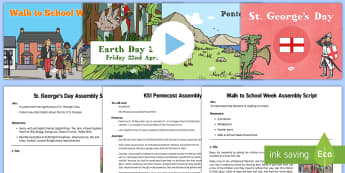 KS1 Summer Term 1 Bumper Assembly Pack - senior leadership, event, key events, summer, assembly, assemblies, whole school, year 1, year 2, y1, y2, ks1, key stage one, key stage 1, st georges day