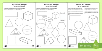 2D and 3D Shapes Colouring Page English/Afrikaans - Math, numeracy, square, triangle, circle, wiskunde, EAL
